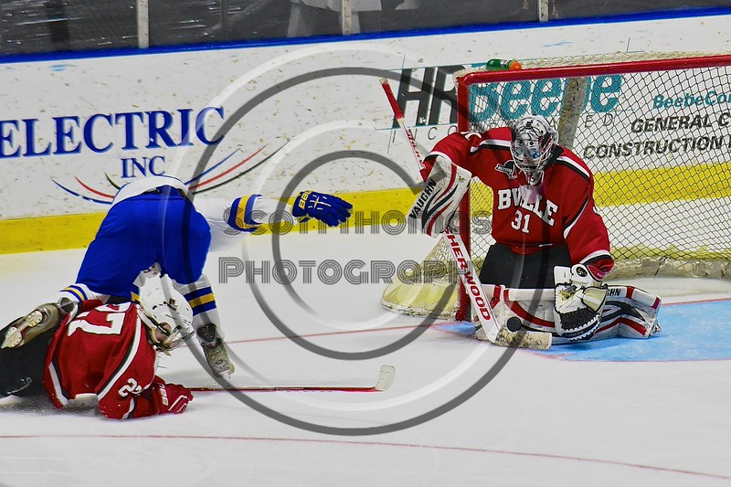 Baldwinsville Bees goalie Matt Sabourin (31) makes a save against the West Genesee Wildcats in the Section III, Division I Championship game in Boys Ice Hockey at the Utica Auditorium on Sunday, February 28, 2016. West Genesee won 1-0.