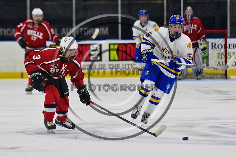 Baldwinsville Bees Alex Paterson-Jones (3) skating with the puck against the West Genesee Wildcats in the Section III, Division I Championship game in Boys Ice Hockey at the Utica Auditorium on Sunday, February 28, 2016. West Genesee won 1-0.