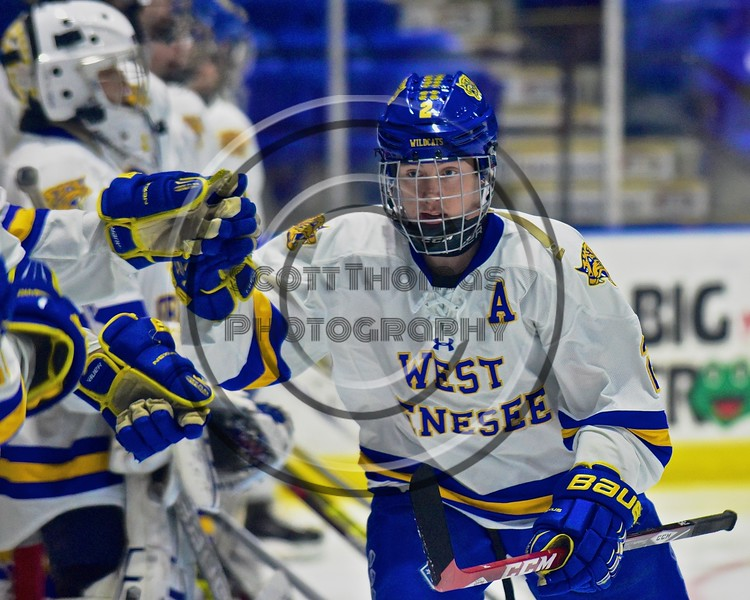 West Genesee Wildcats Conor Bartlett (2) being introduced before playing the Baldwinsville Bees in the Section III, Division I Championship game in Boys Ice Hockey at the Utica Auditorium on Sunday, February 28, 2016.
