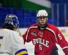 Baldwinsville Bees Isaiah Pompo (5) before a face-off against West Genesee Wildcats Daniel Colabufo (15) in the Section III, Division I Championship game in Boys Ice Hockey at the Utica Auditorium on Sunday, February 28, 2016. West Genesee won 1-0.