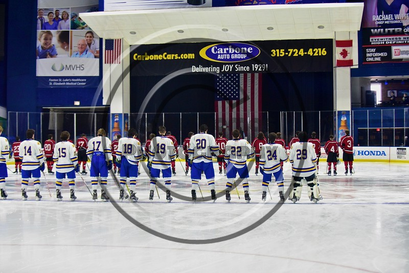Baldwinsville Bees and West Genesee Wildcats during the National Anthem before the Section III, Division I Championship game in Boys Ice Hockey at the Utica Auditorium on Sunday, February 28, 2016.