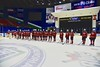 Baldwinsville Bees await the banner presentation for the West Genesee Wildcats in the Section III, Division I Championship game in Boys Ice Hockey at the Utica Auditorium on Sunday, February 28, 2016. West Genesee won 1-0.