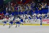 West Genesee Wildcats players jump off the bench after defeating the Baldwinsville Bees in the Section III, Division I Championship game in Boys Ice Hockey at the Utica Auditorium on Sunday, February 28, 2016. West Genesee won 1-0.