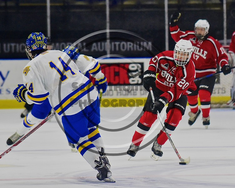 Baldwinsville Bees Ryan Gebhardt (20) skating with the puck against the West Genesee Wildcats in the Section III, Division I Championship game in Boys Ice Hockey at the Utica Auditorium on Sunday, February 28, 2016. West Genesee won 1-0.
