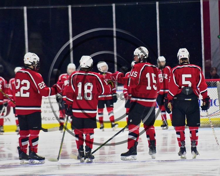 Baldwinsville Bees Charlie Bertrand (15) being introduced before playing the West Genesee Wildcats in the Section III, Division I Championship game in Boys Ice Hockey at the Utica Auditorium on Sunday, February 28, 2016.