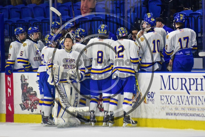 West Genesee Wildcats goalie Sammy Colabufo (29) looks up at the scoreboard during a late game timeout in the Section III, Division I Championship game against the Baldwinsville Bees in Boys Ice Hockey at the Utica Auditorium on Sunday, February 28, 2016. West Genesee won 1-0.