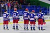 New Hartford Spartans staring lineup before playing the Skaneateles Lakers for the Section III, Division II Championship at the Utica Auditorium on Sunday, February 28, 2016.