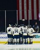 Skaneateles Lakers players huddle up before playing the New Hartford Spartans for the Section III, Division II Championship at the Utica Auditorium on Sunday, February 28, 2016.