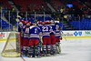 New Hartford Spartans huddle up before playing the Skaneateles Lakers for the Section III, Division II Championship at the Utica Auditorium on Sunday, February 28, 2016.