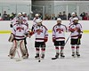 Baldwinsville Bees players goalie Matt Sabourin (31), Matt Metcalf (27), Andrew Starrantino (25) and Garrett Gray (18) before playing the West Genesee Wildcats at the Lysander Ice Arena in Baldwinsville, New York on Tuesday February 2, 2016. Game ended in a 2-2 tie.