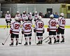 Baldwinsville Bees starting lineup announced before playing the West Genesee Wildcats at the Lysander Ice Arena in Baldwinsville, New York on Tuesday February 2, 2016. Game ended in a 2-2 tie.