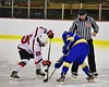 Baldwinsville Bees Andrew Starrantino (25) faces off against West Genesee Wildcats Stephen Anderson (11) to start the game at the Lysander Ice Arena in Baldwinsville, New York on Tuesday February 2, 2016. Game ended in a 2-2 tie.