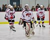 Baldwinsville Bees starting goalie Matt Sabourin (31) being introduced before playing the West Genesee Wildcats at the Lysander Ice Arena in Baldwinsville, New York on Tuesday February 2, 2016. Game ended in a 2-2 tie.