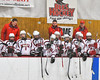 Baldwinsville Bees players before the start of the game against the Liverpool Warriors in NYSPHSAA Section III Boys Ice Hockey action at the Lysander Ice Arena in Baldwinsville, New York on Friday, December 16, 2016.