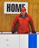 Baldwinsville Bees Head Coach Mark Lloyd on the bench before his team played the Liverpool Warriors in NYSPHSAA Section III Boys Ice Hockey action at the Lysander Ice Arena in Baldwinsville, New York on Friday, December 16, 2016.