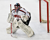 Baldwinsville Bees goalie Josh Smith (1) in pre-game warm ups in NYSPHSAA Section III Boys Ice Hockey action at the Lysander Ice Arena in Baldwinsville, New York on Friday, December 16, 2016.