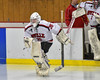 Baldwinsville Bees starting goalie Alex Rose (35) leads his team against the Liverpool Warriors in NYSPHSAA Section III Boys Ice Hockey action at the Lysander Ice Arena in Baldwinsville, New York on Friday, December 16, 2016.