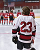 Syracuse Cougars Ryan Eccles (23) standing for the National Anthem before playing the Baldwinsville Bees at the Meachem Ice Rink in Syracuse, New York on Tuesday, December 20, 2016.