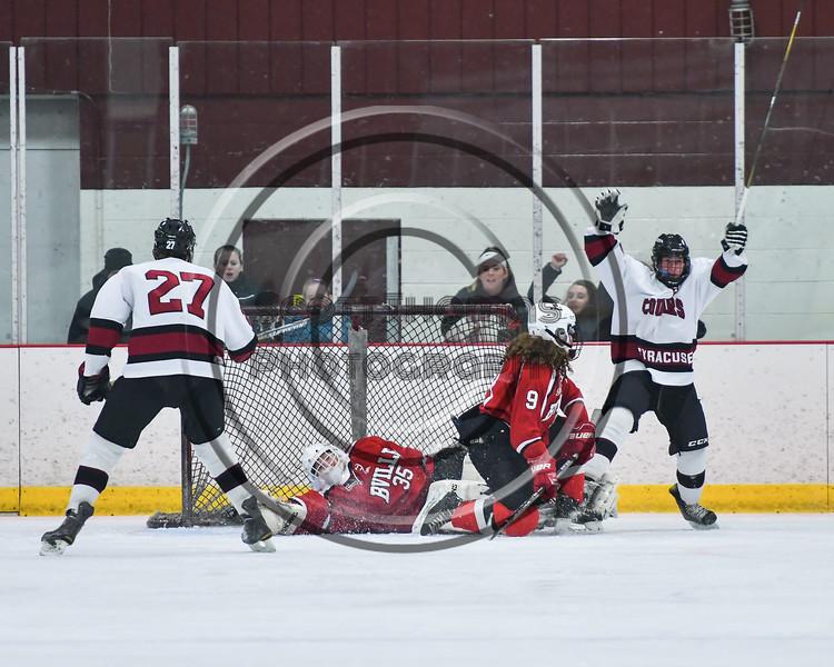 Syracuse Cougars Matt Goddard (13) celebrates his goal against the Baldwinsville Bees n NYSPHSAA Section III Boys Ice Hockey action at the Meachem Ice Rink in Syracuse, New York on Tuesday, December 20, 2016. Syracuse won 5-2.