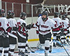 Syracuse Cougars CJ Walsh (27) being introduced before playing the Baldwinsville Bees at the Meachem Ice Rink in Syracuse, New York on Tuesday, December 20, 2016.