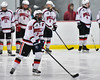 Baldwinsville Bees Jake DuMond (18) being introduced before playing the Auburn Maroons in a NYSPHSAA Section III Boys Ice Hockey game at the Lysander Ice Arena in Baldwinsville, New York on Tuesday, December 27, 2016.
