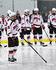 Baldwinsville Bees Zach Perez (26) being introduced before playing the Auburn Maroons in a NYSPHSAA Section III Boys Ice Hockey game at the Lysander Ice Arena in Baldwinsville, New York on Tuesday, December 27, 2016.