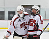 Baldwinsville Bees goalie Alex Rose (35) and Zach Perez (26) after defeating the Auburn Maroons in NYSPHSAA Section III Boys Ice Hockey action at the Lysander Ice Arena in Baldwinsville, New York on Tuesday, December 27, 2016. Baldwinsville won 4-3.
