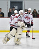 Baldwinsville Bees goalie Alex Rose (35) being introduced before playing the Auburn Maroons in a NYSPHSAA Section III Boys Ice Hockey game at the Lysander Ice Arena in Baldwinsville, New York on Tuesday, December 27, 2016.