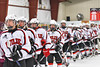 Baldwinsville Bees players line up to shake hands with the Auburn Maroons in NYSPHSAA Section III Boys Ice Hockey action at the Lysander Ice Arena in Baldwinsville, New York on Tuesday, December 27, 2016. Baldwinsville won 4-3.