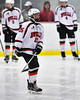 Baldwinsville Bees Jamey Natoli (25) being introduced before playing the Auburn Maroons in a NYSPHSAA Section III Boys Ice Hockey game at the Lysander Ice Arena in Baldwinsville, New York on Tuesday, December 27, 2016.