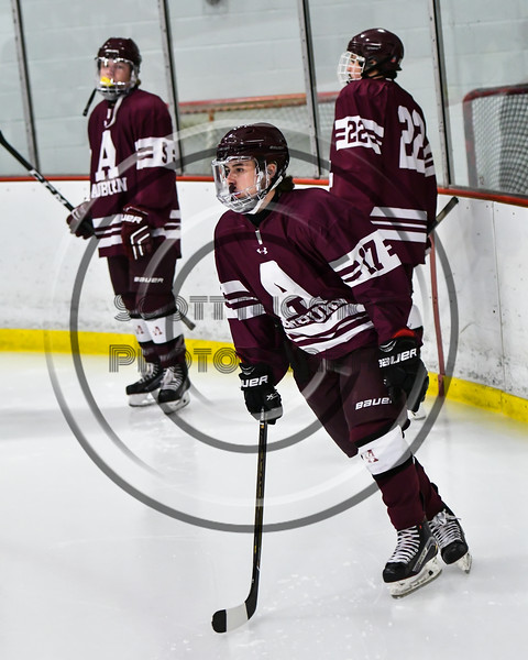 Auburn Maroons John Malandruccoio (17) being introduced before playing the Baldwinsville Bees in a NYSPHSAA Section III Boys Ice Hockey game at the Lysander Ice Arena in Baldwinsville, New York on Tuesday, December 27, 2016.