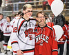 Baldwinsville Bees Connor Carhart (12) honors a teacher on Teacher Appreciation Night at the Lysander Ice Arena in Baldwinsville, New York on Friday, January 6, 2017.