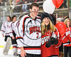 Baldwinsville Bees Ryan Gillespie (7) honors a teacher on Teacher Appreciation Night at the Lysander Ice Arena in Baldwinsville, New York on Friday, January 6, 2017.