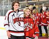 Baldwinsville Bees Ryan Muscatello (3) honors a teacher on Teacher Appreciation Night at the Lysander Ice Arena in Baldwinsville, New York on Friday, January 6, 2017.