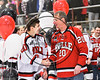 Baldwinsville Bees Ryan Gebhardt (20) honors a teacher on Teacher Appreciation Night at the Lysander Ice Arena in Baldwinsville, New York on Friday, January 6, 2017.