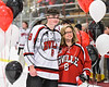 Baldwinsville Bees Parker Schroeder (8) honors a teacher on Teacher Appreciation Night at the Lysander Ice Arena in Baldwinsville, New York on Friday, January 6, 2017.