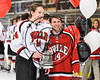 Baldwinsville Bees Nick Glamos (14) honors a teacher on Teacher Appreciation Night at the Lysander Ice Arena in Baldwinsville, New York on Friday, January 6, 2017.