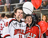 Baldwinsville Bees Zach Hall (16) honors a teacher on Teacher Appreciation Night at the Lysander Ice Arena in Baldwinsville, New York on Friday, January 6, 2017.
