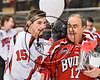 Baldwinsville Bees Michael Carni (15) honors a teacher on Teacher Appreciation Night at the Lysander Ice Arena in Baldwinsville, New York on Friday, January 6, 2017.
