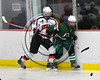 Baldwinsville Bees Cameron Sweeney (21) checks a Fayetteville-Manlius Hornets player in NYSPHSAA Section III Boys Ice Hockey action at the Lysander Ice Arena in Baldwinsville, New York on Friday, January 6, 2017. Baldwinsville won 6-0.