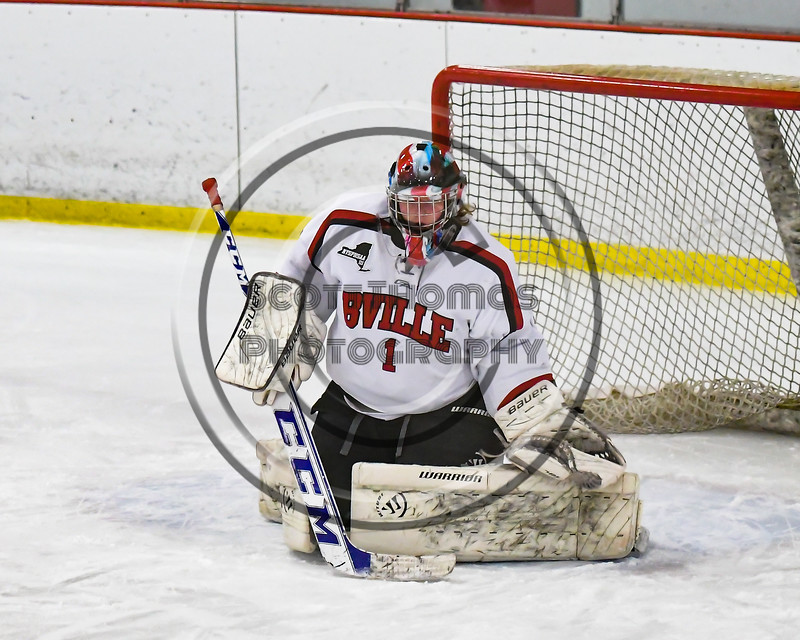 Baldwinsville Bees goalie Josh Smith (1) during per-game warm-ups at the Lysander Ice Arena in Baldwinsville, New York on Friday, January 6, 2017.