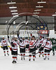 Baldwinsville Bees players salute the fans after defeating the Fayetteville-Manlius Hornets in NYSPHSAA Section III Boys Ice Hockey action at the Lysander Ice Arena in Baldwinsville, New York on Friday, January 6, 2017. Baldwinsville won 6-0.