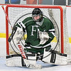 Fayetteville-Manlius Hornets goalie James Kaffenberger (30) makes a save against the Baldwinsville Bees in NYSPHSAA Section III Boys Ice Hockey action at the Lysander Ice Arena in Baldwinsville, New York on Friday, January 6, 2017.