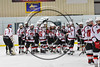 Baldwinsville Bees line up to shake the hands of the Fayetteville-Manlius Hornets team in NYSPHSAA Section III Boys Ice Hockey action at the Lysander Ice Arena in Baldwinsville, New York on Friday, January 6, 2017. Baldwinsville won 6-0.
