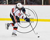 Baldwinsville Bees Jake DuMond (18) passes the puck against the Fayetteville-Manlius Hornets in NYSPHSAA Section III Boys Ice Hockey action at the Lysander Ice Arena in Baldwinsville, New York on Friday, January 6, 2017. Baldwinsville won 6-0.