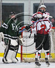 Baldwinsville Bees Connor Carhart (12) celebrates his goal agianst the Fayetteville-Manlius Hornets with Tanner McCaffrey (2) in NYSPHSAA Section III Boys Ice Hockey action at the Lysander Ice Arena in Baldwinsville, New York on Friday, January 6, 2017. Baldwinsville won 6-0.