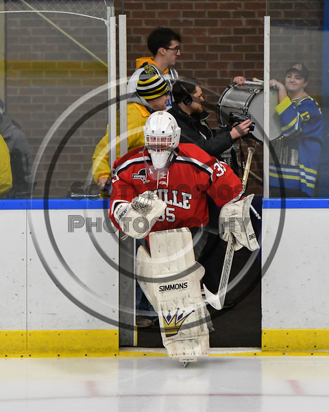 Baldwinsville Bees goalie Alex Rose (35) hits the ice against the West Genesee Wildcats in NYSPHSAA Section III Boys Ice Hockey action at Shove Park in Camillus, New York on Wednesday, February 1, 2017.