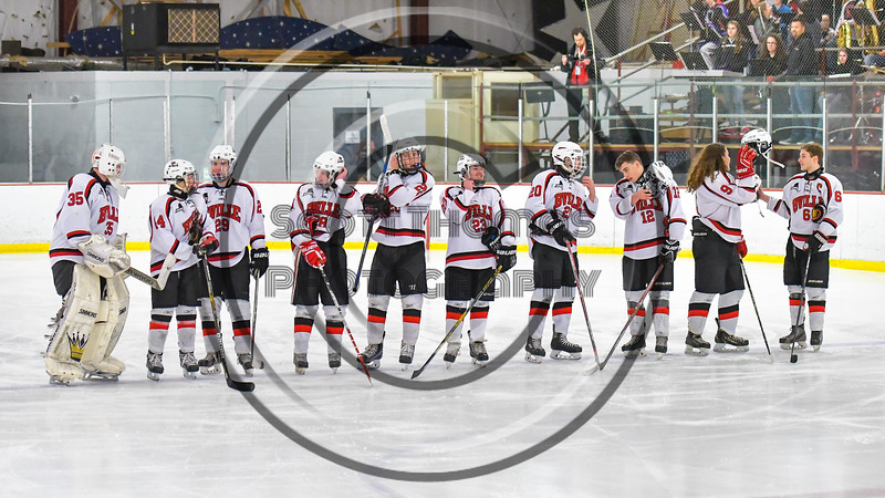 Baldwinsville Bees Seniors announced as the starting lineup against the Mohawak Valley Raiders in NYSPHSAA Section III Boys Ice Hockey action at the Lysander Ice Arena in Baldwinsville, New York on Tuesday, February 7, 2017.