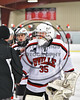 Baldwinsville Bees goalie Alex Rose (35) after his shutout against the Mohawk Valley Raiders in NYSPHSAA Section III Boys Ice Hockey action at the Lysander Ice Arena in Baldwinsville, New York on Tuesday, February 7, 2017. Baldwinsville won 1-0.