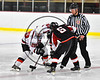 Baldwinsville Bees Jacob Abbey (29) faces off against Mohawk Valley Raiders Henry Froass (6) to start the third period in NYSPHSAA Section III Boys Ice Hockey action at the Lysander Ice Arena in Baldwinsville, New York on Tuesday, February 7, 2017. Baldwinsville won 1-0.